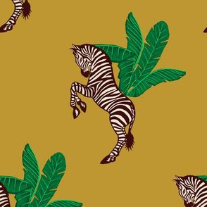 Zebra Banana Leaves Gold Brown