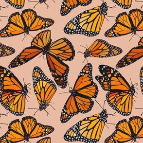 "Monarchs on pink  6"""