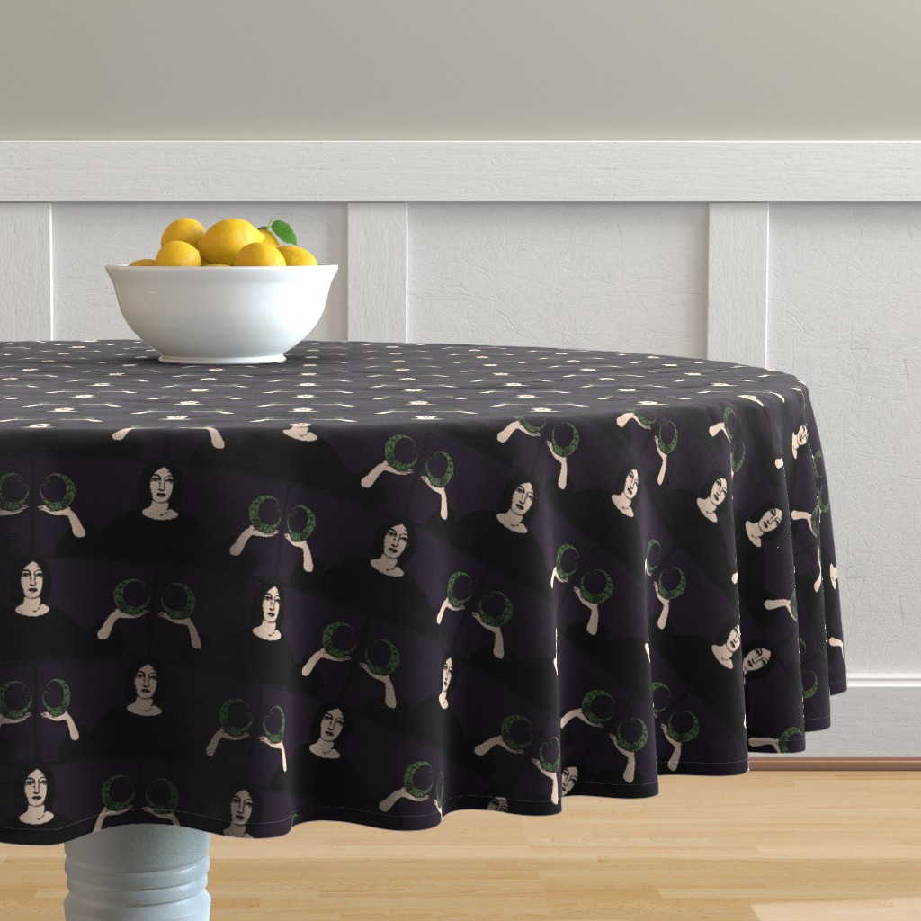 Malay Round Tablecloth featuring There is a Balance | Danse Macabre by lochnestfarm