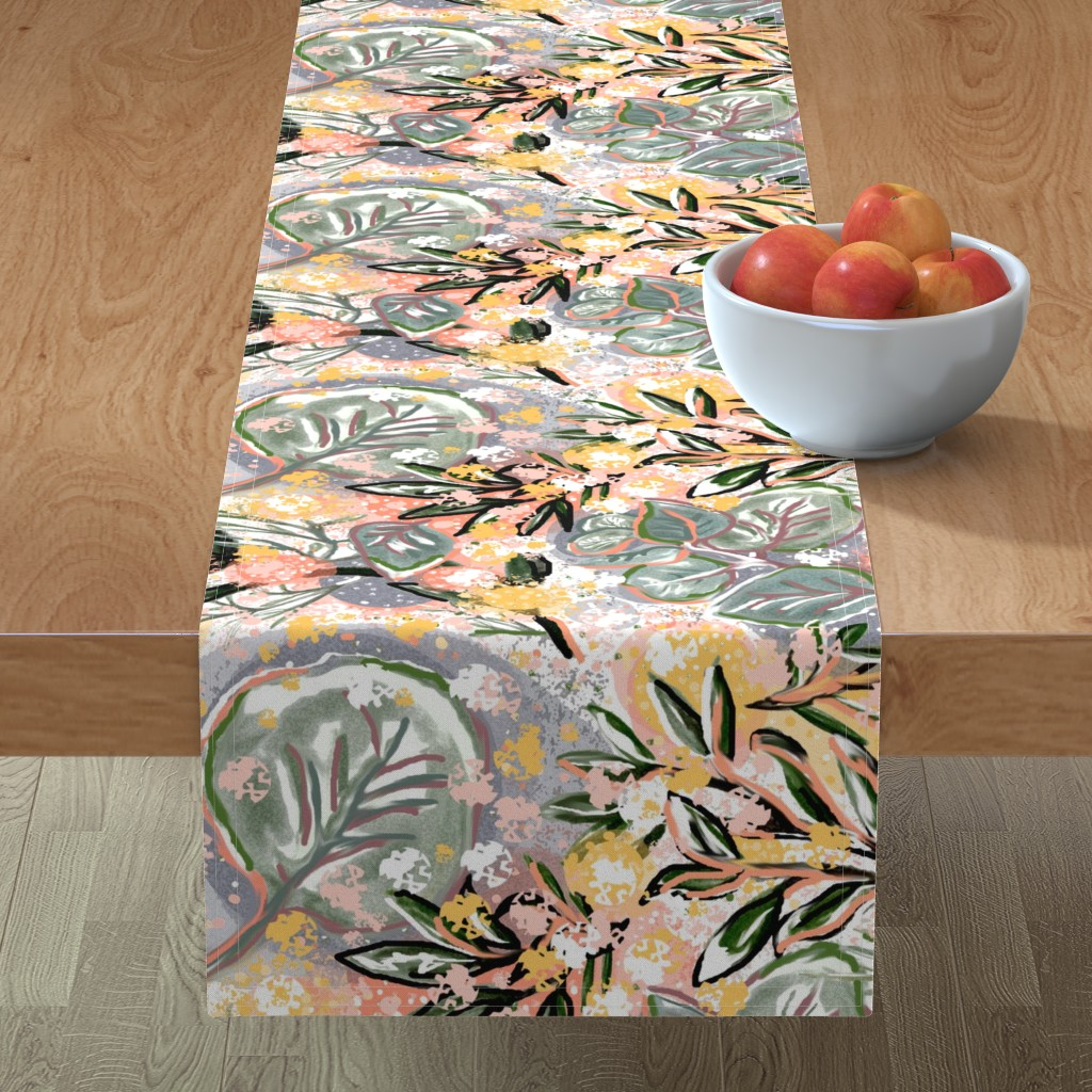 Minorca Table Runner featuring Acacia and Eucalyptus Bursts by lorloves_design