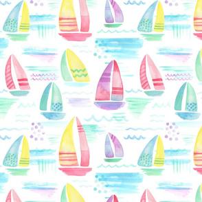 Pastel Watercolor Sailboats