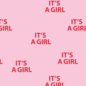 Sweet it's a girl minimal baby shower text design abstract typography print with expressions from the heart pink red girls