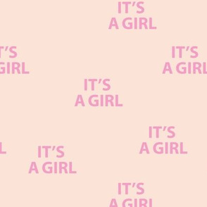 Sweet it's a girl minimal baby shower text design abstract typography print with expressions from the heart blush pink girls