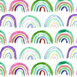 Watercolor rainbows in green and purple || hand made painted archs for nursery