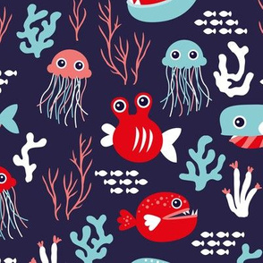 Deep water jelly fish and quirky sea life animals navy blue red