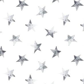 Silver watercolor stars for modern nursery