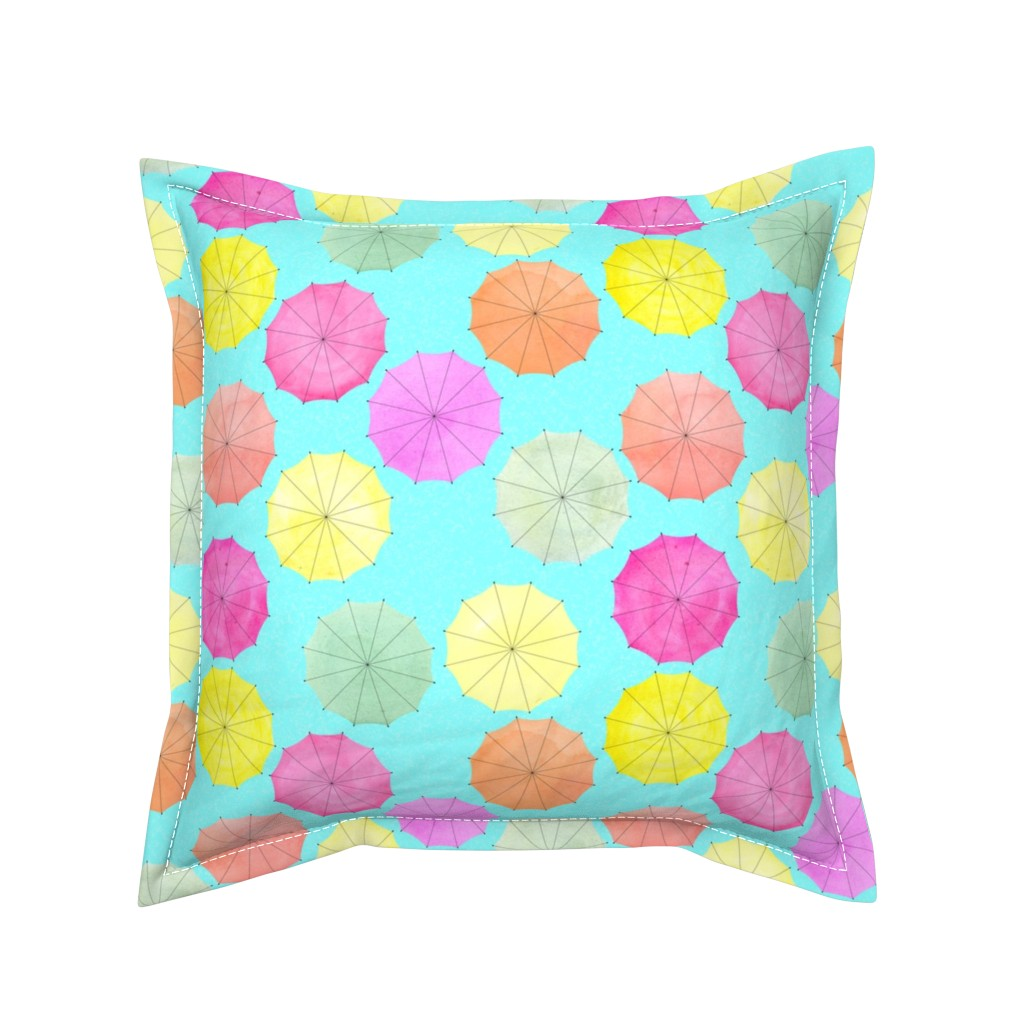 Serama Throw Pillow featuring colorful umbrellas by julimur