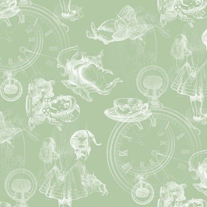 Alice in Wonderland Tea Party in soft sage green