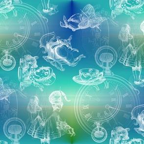 Alice in Wonderland Tea Party Blue Green