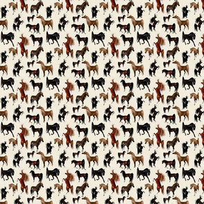 Arabian Horse Mixed - Brown Horses with Cream Background