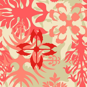 Hawaiian Abstract Quilt Floral - Living Coral