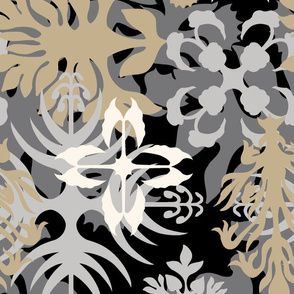 Hawaiian Abstract Quilt Floral - Neutral Colorway