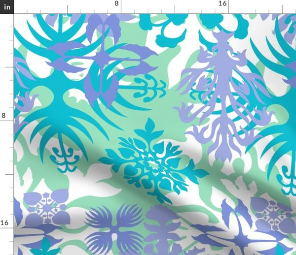 Fabric By The Yard Hawaiian Abstract Quilt Floral Mint And Peri