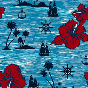 Lahaina Clipper Nautical Tropical in Indigo and Red