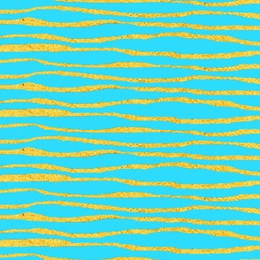 Turquoise and gold stripe//  teal ocean stripe with gold