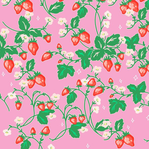 Large Scale Strawberry Patch on Pink