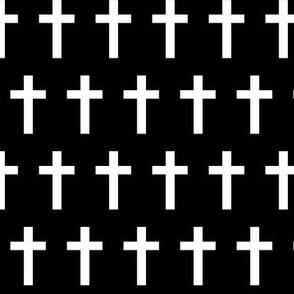 White crosses on black