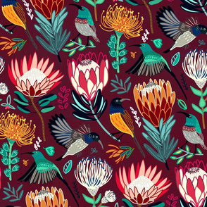 Sunbirds & Proteas On Maroon (Large Version)