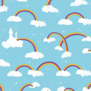 Rainbow, Clouds and Stars on light blue