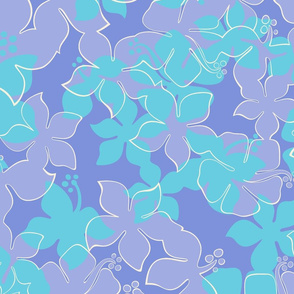 Hawaiian Hibiscus Camo Floral - Periwinkle