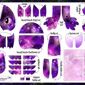 Cut & Sew Plush Dragon Backpack Purple Galaxy