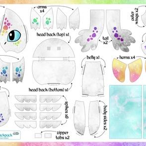 Cut & Sew Plush Dragon Backpack Rainbow