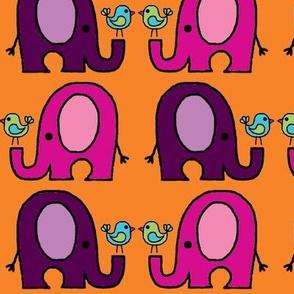 Elephants and birds orange purple