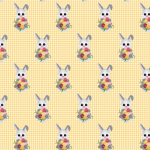 Baby Bunny on Yellow Gingham Small Print