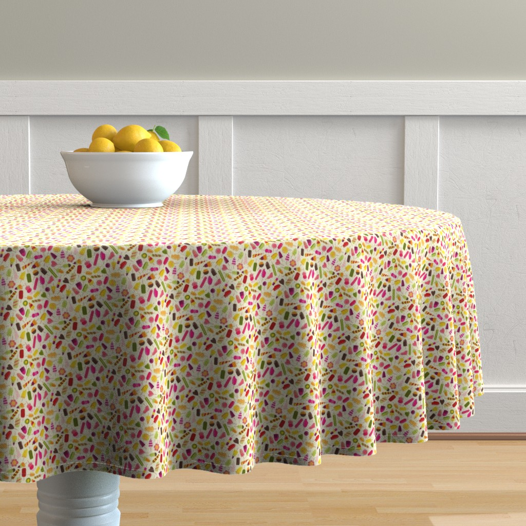 Malay Round Tablecloth featuring Popsicle party by suzytaylordesigns
