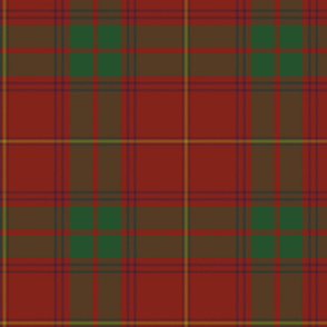 "Rothesay red tartan variant, 10"" with purple and gold stripes"