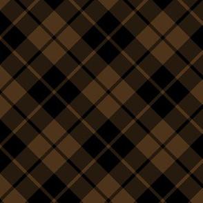 brown and black diagonal tartan