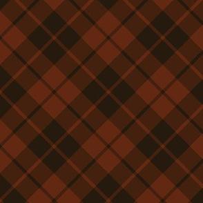 dark rust and brown diagonal tartan