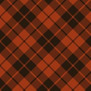 rust and brown diagonal tartan