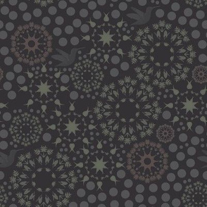 flower mandala - charcoal purple