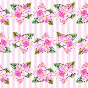 Frangipani Small Print-Pink Stripes