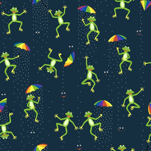 april showers frogs with rain umbrella (D)