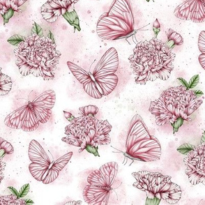 Carnations and Butterflies