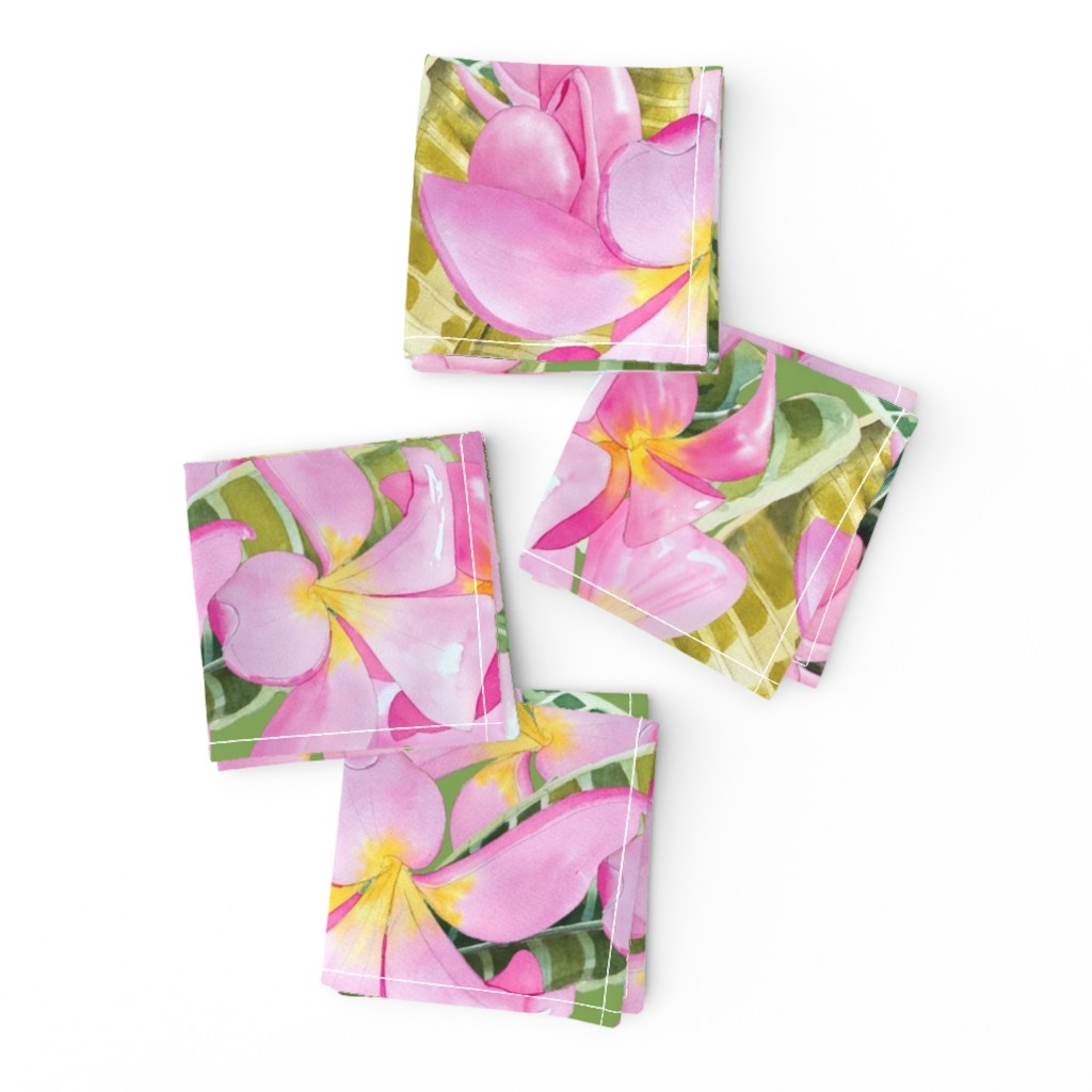 Frizzle Cocktail Napkins featuring Frangipani (Plumeria) Large Print  by kandyceartstudio
