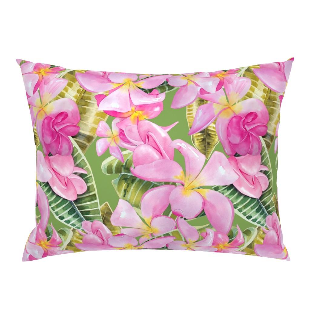 Campine Pillow Sham featuring Frangipani (Plumeria) Large Print  by kandyceartstudio