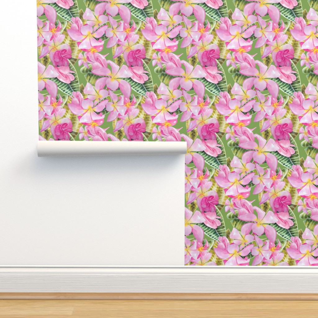 Isobar Durable Wallpaper featuring Frangipani (Plumeria) Large Print  by kandyceartstudio