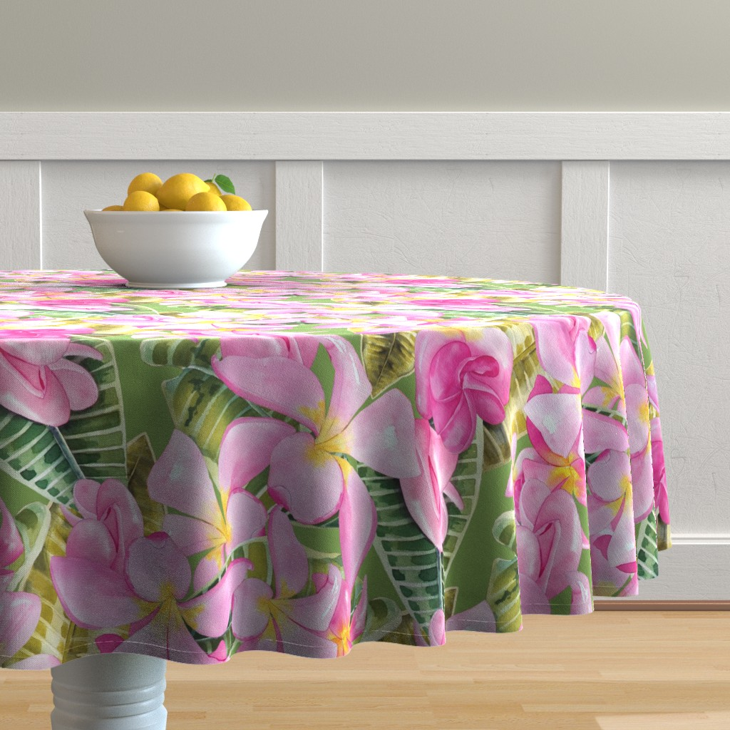 Malay Round Tablecloth featuring Frangipani (Plumeria) Large Print  by kandyceartstudio