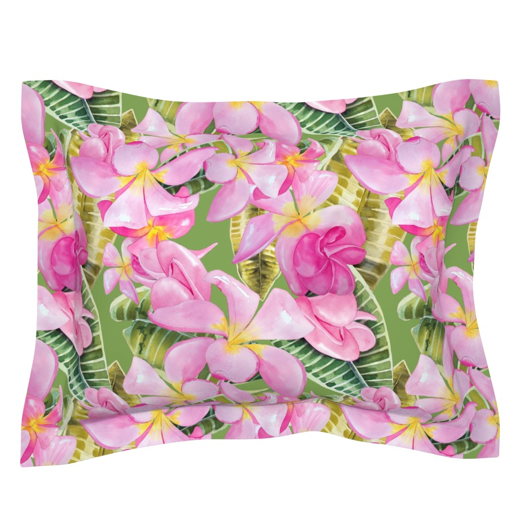 Sebright Pillow Sham featuring Frangipani (Plumeria) Large Print  by kandyceartstudio