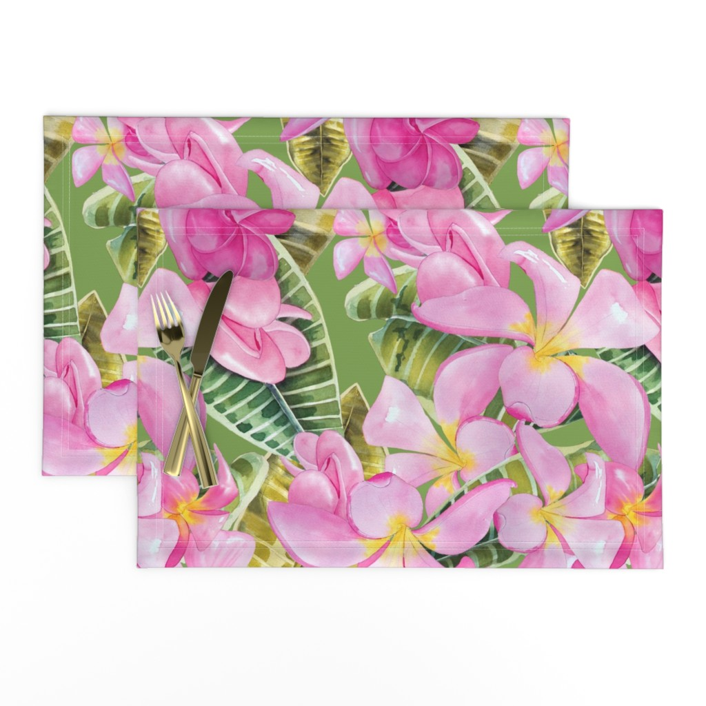Lamona Cloth Placemats featuring Frangipani (Plumeria) Large Print  by kandyceartstudio