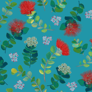 Ohia Lehua Blue background