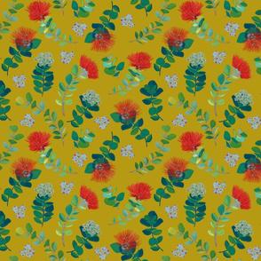 Ohia Lehua Mustard background