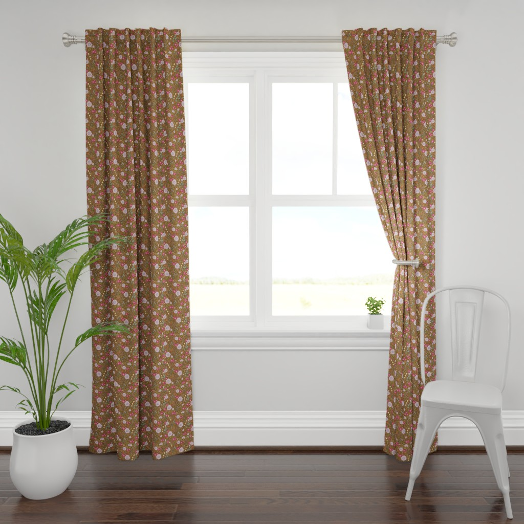 Plymouth Curtain Panel featuring Meadow-SpringBrown by malibu_creative