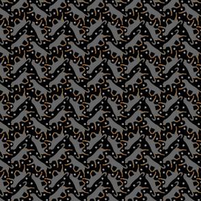 Trotting undocked Rottweiler and paw prints - tiny black