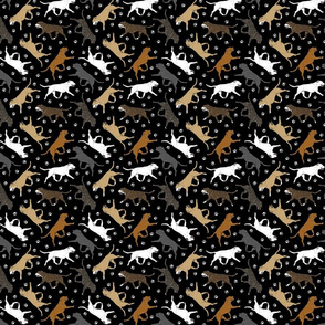Trotting Staffordshire Bull Terriers and paw prints - tiny black