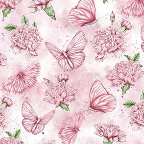 Carnations and Butterflies Watercolor