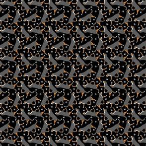 Tiny Trotting tailed Entlebucher mountain dog and paw prints - black